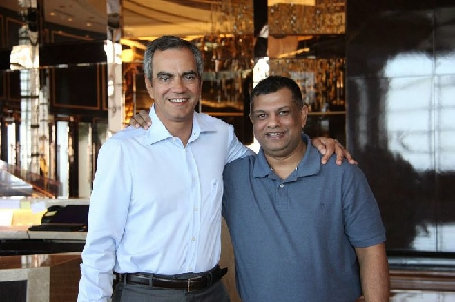 Solaire owner Enrique Razon Jr. and Air Asia Global CEO Tony Fernandes