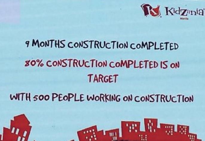 Good news! KidZania Manila play city is nearing completion.