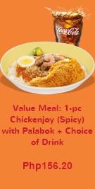 palabok and spicy chicken
