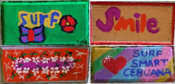 Colorful cement pavers made by students of Mandaluyong Elementary School