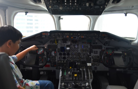 Real airplane cockpit