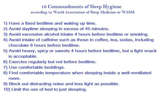 10 Commandments of Sleep Hygiene